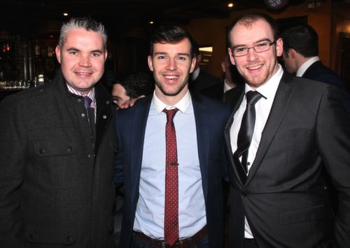 Richie Barrett, Michael Griffin and Darragh O'Connor at the Na Gaeil GAA Celebration Night at The Meadowlands Hotel on Saturday. Photo by Dermot Crean