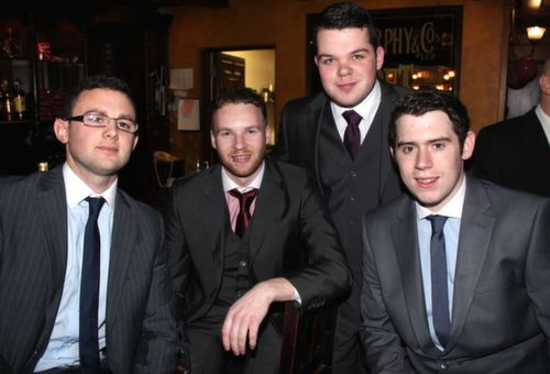 Emmet Curran, Shane Fitzgerald, Mark O'Connor and Jordan Murphy at the Na Gaeil GAA Celebration Night at The Meadowlands Hotel on Saturday. Photo by Dermot Crean
