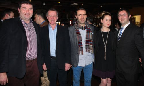 Thomas Rooney, Conor Kavanagh, Donal Rooney, Alexandra Rowan and Neil O'Meara  at the Na Gaeil GAA Celebration Night at The Meadowlands Hotel on Saturday. Photo by Dermot Crean