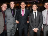 Eoghain Sheehy, Jamie Lowham, David Culloty, Kieran O'Donovan and Neil Cannon at the Na Gaeil GAA Celebration Night at The Meadowlands Hotel on Saturday. Photo by Dermot Crean