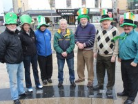 Members of the St Patrick's Day parade committee getting into the spirit of things, from left: Martin Brosnan, Anne O'Shea, Jason Brick, Micheal Gaffney, Johnnie Wall, Danny Wall and Sean Lyons. Photo by Gavin O'Connor.