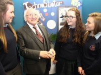 Students of Causeway Comprehensive talk with President Micheal D Higgins, from left: Aoife O'Mahony, Freya Casey and Brianne barrett. Photo by Gavin O'Connor.
