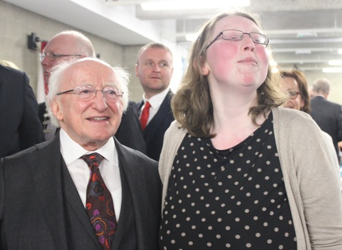 Mairead Farmer with President Micheal D Higgins. Photo by Gavin O'Connor.