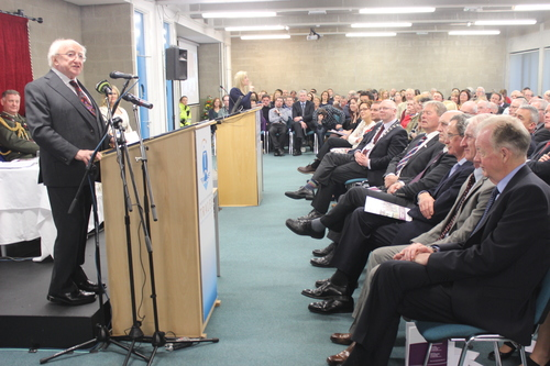 President Micheal D Higgins, speaks during the UNESCO launch at IT Tralee. Photo by Gavin O'Connor.