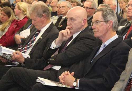 Mícheál Ó Muircheartaigh, Keith Wood and Dick Spring listen to president Micheal D Higgins, speech at the UNESCO launch in IT Tralee. Photo by Gavin O'Connor.