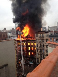 The blaze from the rooftop of Ashley Raymond's apartment in the lower east side of Manhattan. Photo Ashley Raymond.