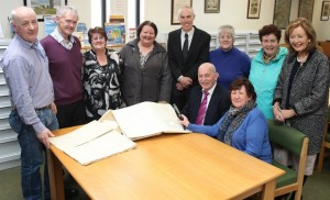 At the handing of the Ballyroe School roll books to Kerry County Library were back, from left: Micheal Lynch, John King, Marian Fitzgerald, Kay McGillycuddy, Tommy O'Connor, Peggy Geary, Angela Kirby and Marie McSweeney. Front: Denis Walsh and Margaret Murphy.