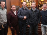 At The Enable Ireland Cheltenham Preview night in association with Paddy Power at the Fels Point Hotel, were, from left: Jerry Mangan, Con Bailey, Brian O'Connell, Jim Culloty and Phillip Enright. Photo by Gavin O'Connor.