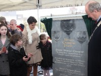 The commemorative stone being unveiled in the new Sean Crispie Park. Photo by Gavin O'Connor.