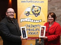 Tony Heffernan of Bumbleance and Mary Ferritter of Dingle Distillery at the Fels Point Hotel Corporate Evening on Thursday night. Photo by Dermot Crean