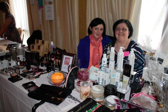 Irene Tobin and Jo O'Sullivan-Kenny of FM Cosmetics at the fitness expo in the Fels Point Hotel on Saturday. Photo by Oscar Brophy