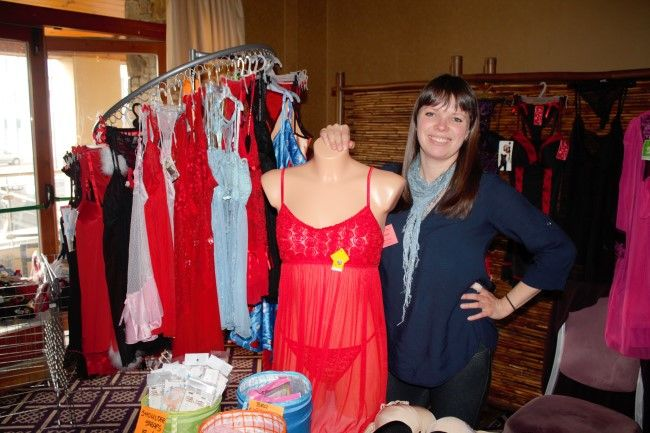 Marzena Kwacz, selling lingerie at the fitness expo in the Fels Point Hotel on Saturday. Photo by Oscar Brophy