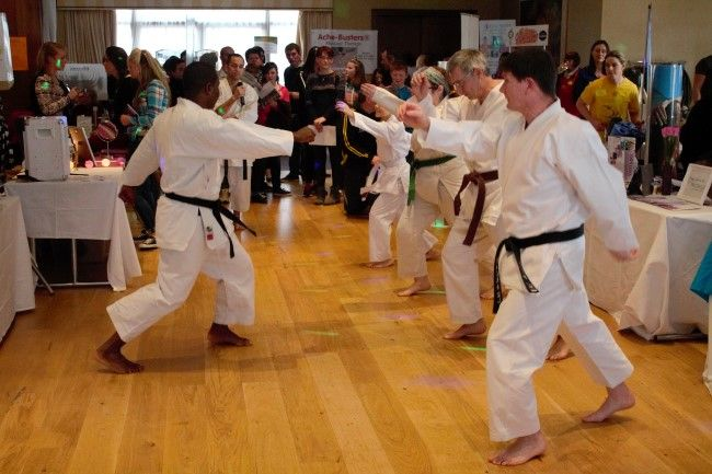 Members of Kerry Shotokan Karate School give a demonstration (Custom) at the fitness expo in the Fels Point Hotel on Saturday. Photo by Oscar Brophy
