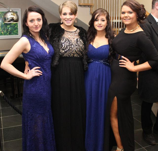 Therese O'Connell, Cordal, Maria Molyneaux, Mary Lyne and Laraine Hobbert at the IT Tralee Students Ball at the Ballyroe Heights Hotel on Wednesday night. Photo by Dermot Crean