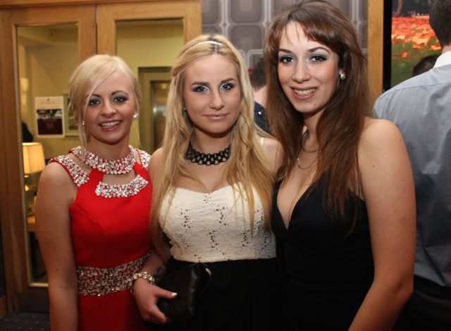Sandra Skrzysiak Suzan Zuchowska and Ivana Dimov at the IT Tralee Students Ball at the Ballyroe Heights Hotel on Wednesday night. Photo by Dermot Crean