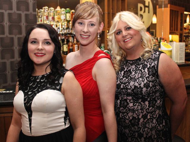Kelly Collins, Michelle Rowan and Stephanie Lane at the IT Tralee Students Ball at the Ballyroe Heights Hotel on Wednesday night. Photo by Dermot Crean