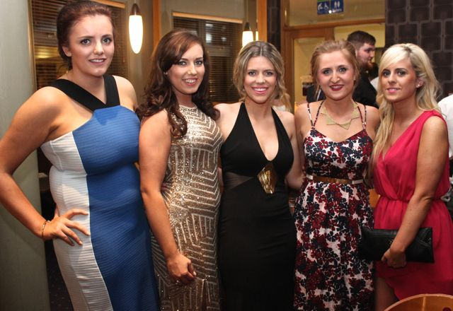 Mary Riordan, Sarah O'Sullivan, Orla Young, Caroline Creedon and Michelle Young at the IT Tralee Students Ball at the Ballyroe Heights Hotel on Wednesday night. Photo by Dermot Crean