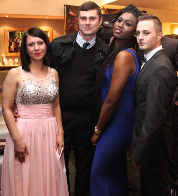 Remeta Havelkova, Premy Havelka, Daniel Sterc and Lola Osinubi at the IT Tralee Students Ball at the Ballyroe Heights Hotel on Wednesday night. Photo by Dermot Crean