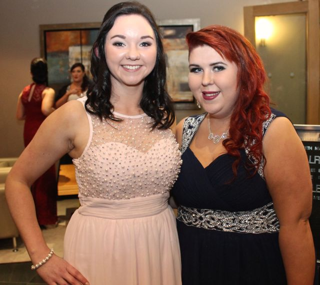 Emma Cournane and Edel O'Sullivan at the IT Tralee Students Ball at the Ballyroe Heights Hotel on Wednesday night. Photo by Dermot Crean