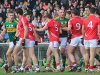 Tralee lads, Tommy Walsh, Kieran Donaghy and David Moran came up against a sea of red. Photo by Gavin O'Connor.