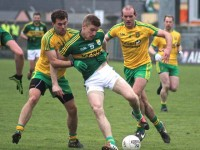 Eamonn McGee and Neil Gallagher put Tommy Walsh under pressure. Photo by Dermot Crean.