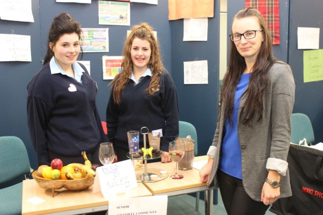 With teacher, Anne Marie Nelligan, were Listowel Community College students Kelly Broderick and Zoe O'Gorman at the Kerry LEO Student Enterprise Awards at the ITT on Friday. Photo by Gavin O'Connor