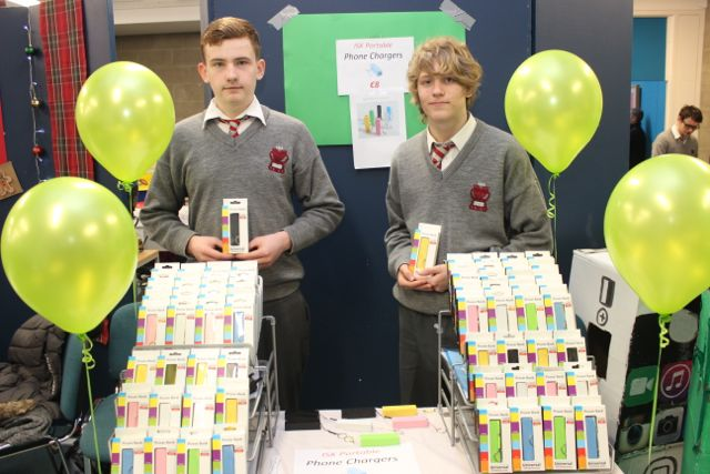 Students from Intermediate School Killorglin, Fergus Walsh and Aaron Shaw at the Kerry LEO Student Enterprise Awards at the ITT on Friday. Photo by Gavin O'Connor