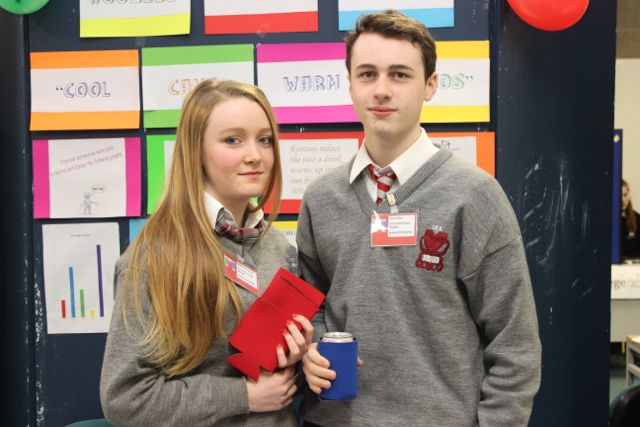 Students from Intermediate School Killorglin, Rachel Montgomery and Adam Ladner at the Kerry LEO Student Enterprise Awards at the ITT on Friday. Photo by Gavin O'Connor