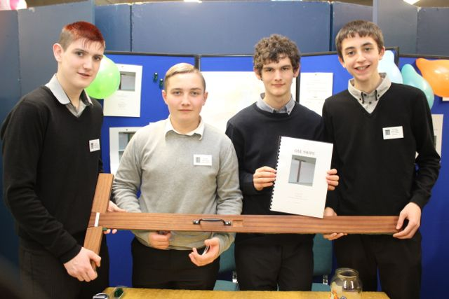 Students from Scoil Phobail Sliabh Luachra were Colin O'Leary, Phelim Jacob, Micheal Crowley and Jack Collins at the Kerry LEO Student Enterprise Awards at the ITT on Friday. Photo by Gavin O'Connor