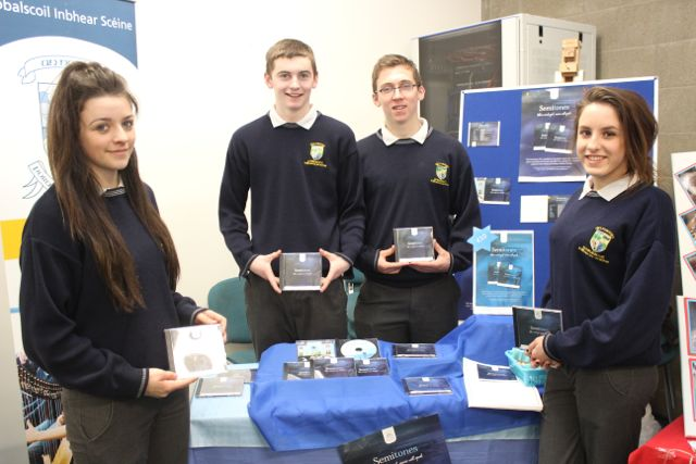 Students from Pobalscoil Inbhear Scéine Kenmare, Sadhbh O'Shea, Tom O'Sullivan, Des Cronin and Sasha Simpoies at the Kerry LEO Student Enterprise Awards at the ITT on Friday. Photo by Gavin O'Connor