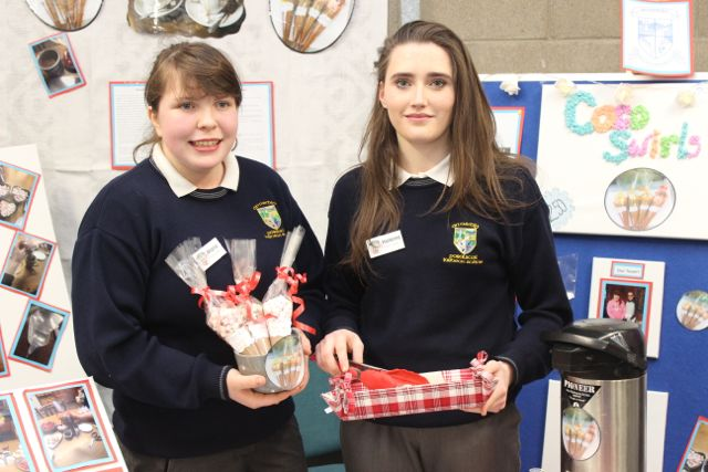 Pobalscoil Inbhear Sceine Kenmare  students Maria Randles and Helena O'Sullivan at the Kerry LEO Student Enterprise Awards at the ITT on Friday. Photo by Gavin O'Connor