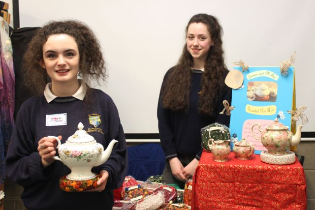 Students from Pobalscoil Inbhear Sceine Kenmare, Molly Knightly and Emma Keane at the Kerry LEO Student Enterprise Awards at the ITT on Friday. Photo by Gavin O'Connor