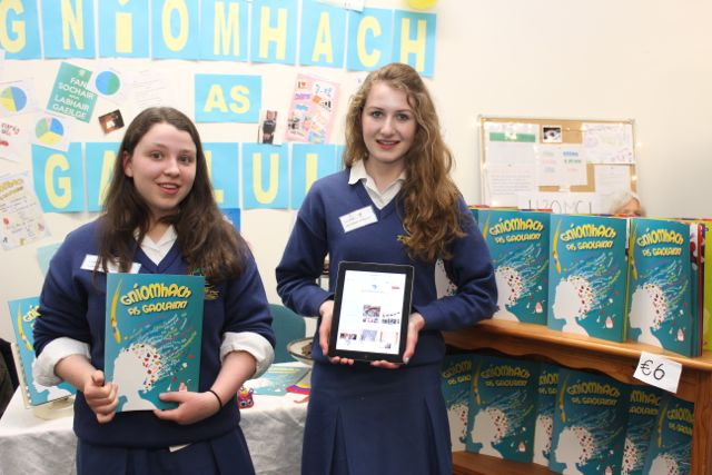 Students from Pobalscoil Chorca Dhuibhne, Louise Moriarty and Lucy Ashe at the Kerry LEO Student Enterprise Awards at the ITT on Friday. Photo by Gavin O'Connor