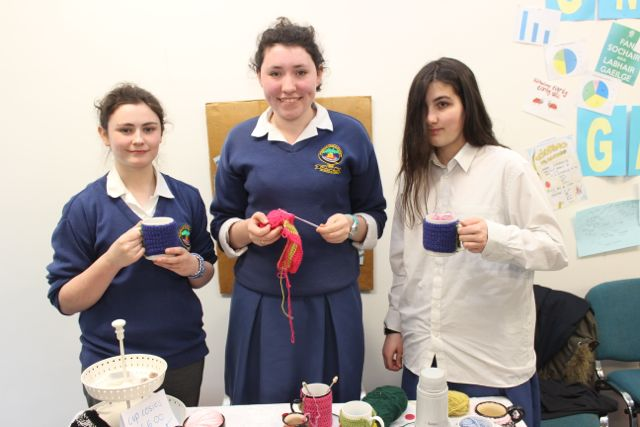 Students from Pobalscoil Chorca Dhuibhne Orla Nelligan, Grace O'Sullivan and Raphaela Juillet at the Kerry LEO Student Enterprise Awards at the ITT on Friday. Photo by Gavin O'Connor