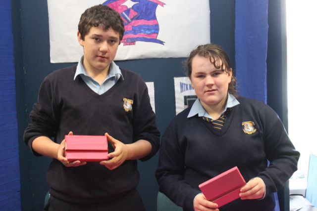 Listowel Community College students Micheal Falvey and Tara Downey at the Kerry LEO Student Enterprise Awards at the ITT on Friday. Photo by Gavin O'Connor