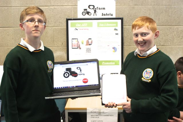 Killorglin Community College students Hugh Hurley and Paraic McMahon at the Kerry LEO Student Enterprise Awards at the ITT on Friday. Photo by Gavin O'Connor