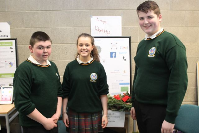 Students from Killorglin Community College, Patrick Clifford, Alana O'Sullivan and Dylan Lenihan at the Kerry LEO Student Enterprise Awards at the ITT on Friday. Photo by Gavin O'Connor