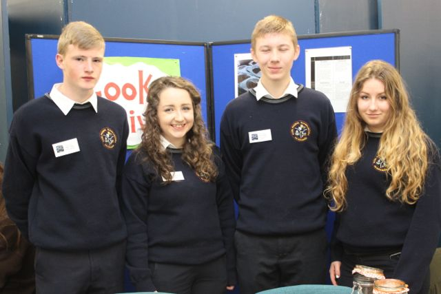 Students from Scoil Phobail Sliabh Luachra, Conor Stack, Lauren McGillycuddy, Joey Cronin and Sara Michnova at the Kerry LEO Student Enterprise Awards at the ITT on Friday. Photo by Gavin O'Connor