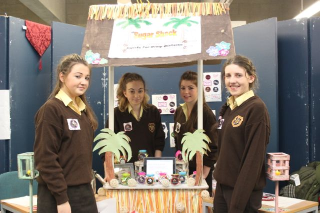Students from Presentation Listowel Aoife Hennessy, Ciara O'Brien, Aisling Chute and Evelyn O'Flynn at the Kerry LEO Student Enterprise Awards at the ITT on Friday. Photo by Gavin O'Connor