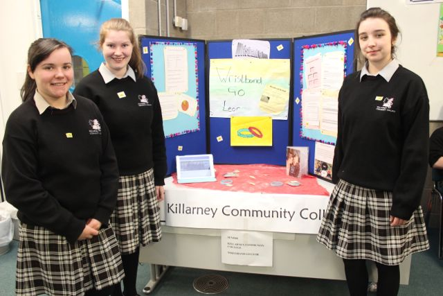 Students from Killarney Community College, Abigail Graham, Grainne Dineen and Sarah Finnan at the Kerry LEO Student Enterprise Awards at the ITT on Friday. Photo by Gavin O'Connor