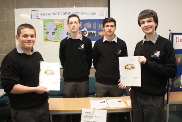Students from Killarney Community College, Sean Corcoran, Peter O'Brien, Rory Carroll and Jake Grunfeld at the Kerry LEO Student Enterprise Awards at the ITT on Friday. Photo by Gavin O'Connor