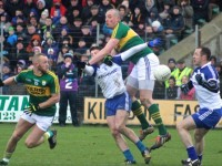 Kieran Donaghy contest a ball against Monaghan. Photo by Dermot Crean.