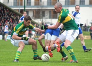 Stephen O'Brien and Kieran Donaghy, dispossess a Monaghan in the Allianz National League match in Austin Stack Park last year. Photo by Gavin O'Connor.