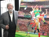 Dr Jim O'Sullivan with the painting