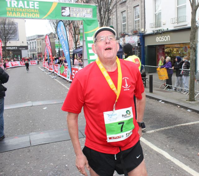 Ken Beggs at the Tralee Marathon finish line in The Mall on Sunday. Photo by Dermot Crean