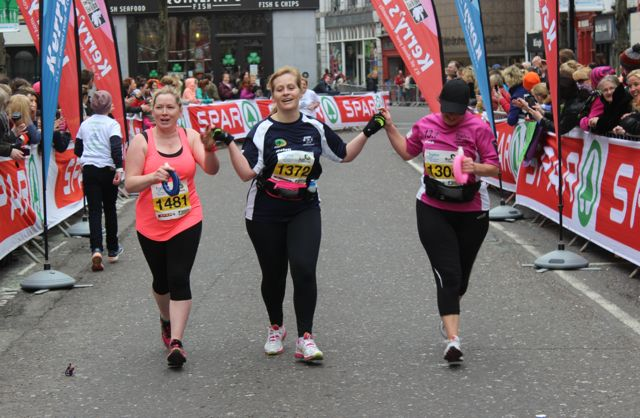 Mary Quinn, Helen Nolan Finn and Nina Mansfield at the Tralee Marathon finish line in The Mall on Sunday. Photo by Dermot Crean