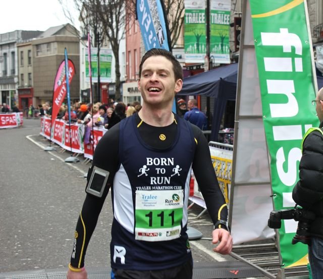 Tom Foley at the Tralee Marathon finish line in The Mall on Sunday. Photo by Dermot Crean
