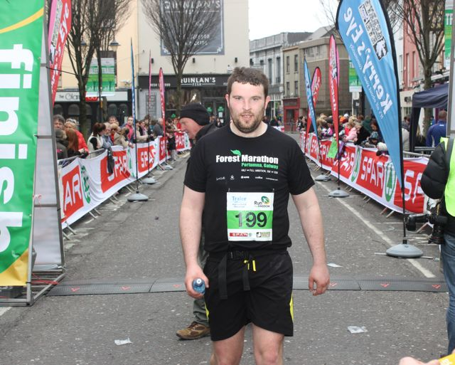 John McCormack at the Tralee Marathon finish line in The Mall on Sunday. Photo by Dermot Crean