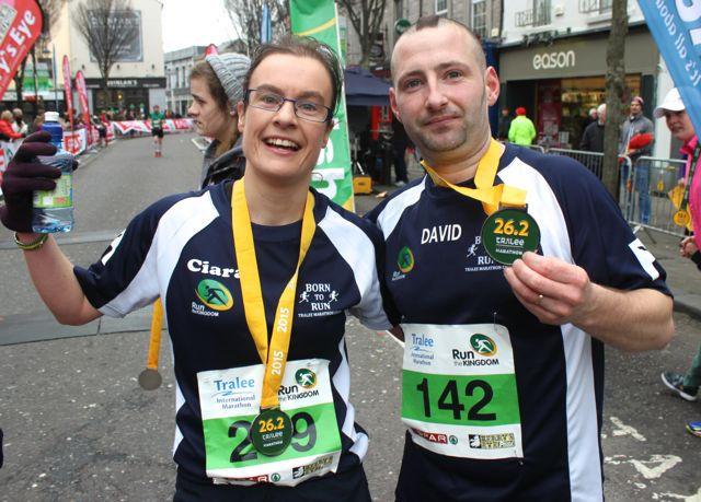 Ciara O'Callaghan and David Hughes at the Tralee Marathon finish line in The Mall on Sunday. Photo by Dermot Crean