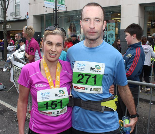 Sinead Kane and John O'Regan at the Tralee Marathon finish line in The Mall on Sunday. Photo by Dermot Crean